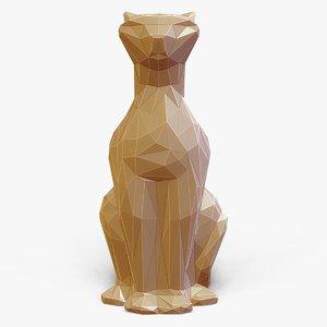 faceted cat figurine - 3d model