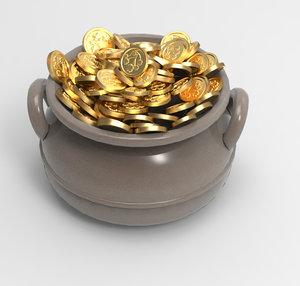pot old gold 3D model