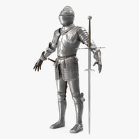 Medieval Knight Plate Armor with Zweihander T-Pose