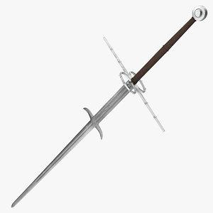 3D medieval zweihander two-handed sword model