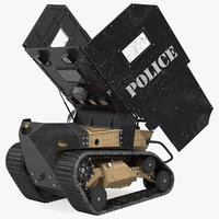 Damaged RBS1 SWAT BOT Robotic Ballistic Shield Rigged