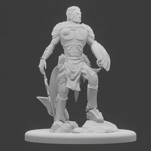 3D rpg miniature human warrior