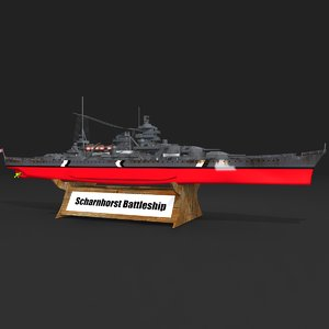 battlecruiser scharnhorst 3D model