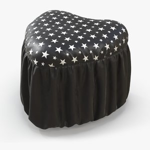 pouf heart black leather 3D