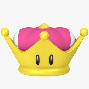 3D super mario crown peach