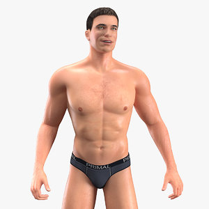 fit athletic man rigged 3D