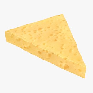 3D realistic jarlsberg cheese slice model