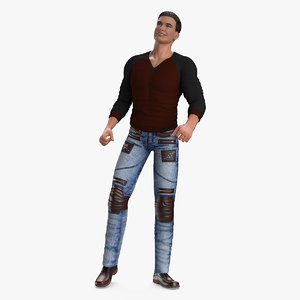 man urban style clothing 3D