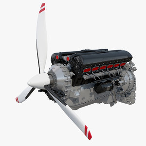 v12 piston aero engine 3D model