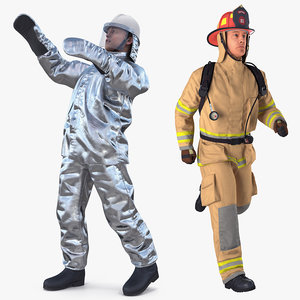 firefighters rigged 3D model