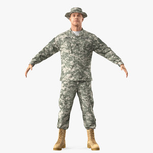 army soldier camo t-pose 3D model