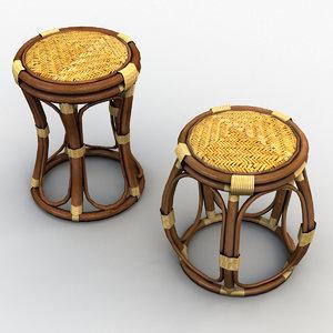 bamboo stool 3D