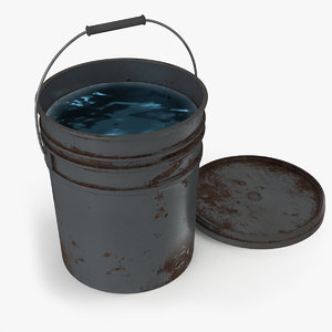 3D rusty bucket water model