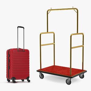 3D hotel luggage cart bag