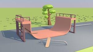 3D model skate park skateboard animation
