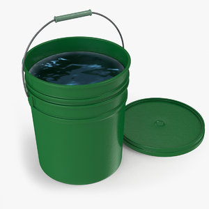 green bucket plastic water model