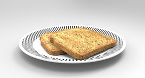 bread food toast 3D model