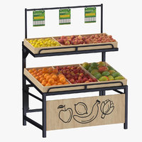 Wooden Display Rack 06 with Fruits 01