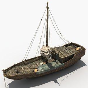 3D small cargo ship ancient model