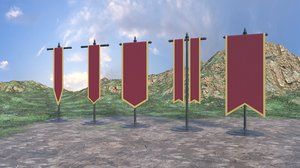 3D medieval banners