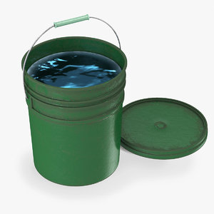 green bucket water 3D model