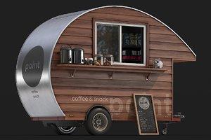 3D model wooden food trailer 3