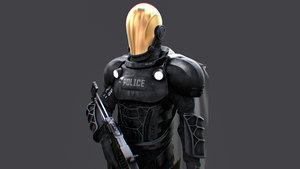 3D model futuristic police officer enforcer