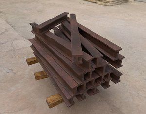 stacked cast iron beams 3D model