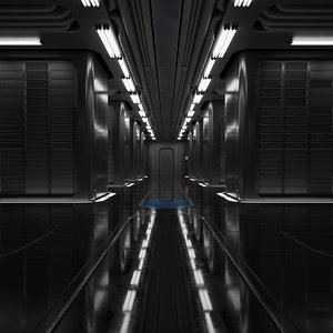 3D sci-fi server room model