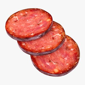 3D model realistic sausage slices