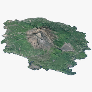 3D sakurajima volcano island