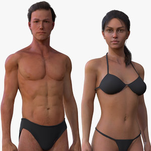 male female body 3D model