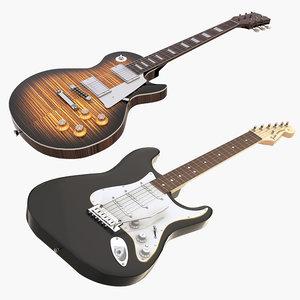 3D guitars set gibson fender