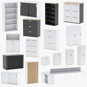 14 storage cabinets 3D model