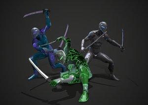 rigged cyborg ninja killer 3D model