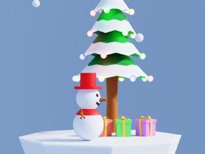 3D simple cartoon christmas tree model