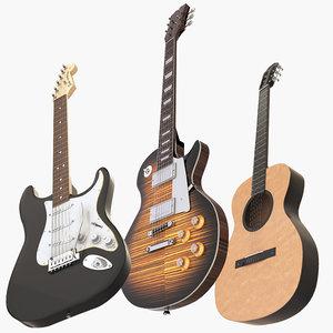 3D model guitars gibson fender