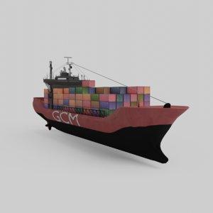 3D cargoship ship model