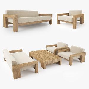 3D restoration hardware bardenas sofa
