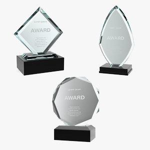 3D glass award trophy