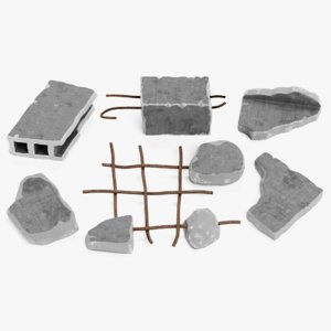 3D model concrete debris set