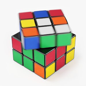 3D model rubik cube animation solved
