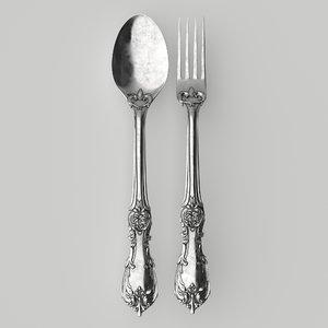 fork spoon antique 3D model