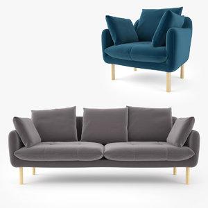 jardan andy sofa armchair 3D model