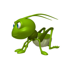 grasshopper cartoon 3D model