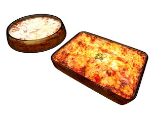 3D model lasagna food lasagne