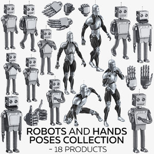 robots hands poses - 3D model