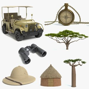 safari vehicle compass binoculars 3D model