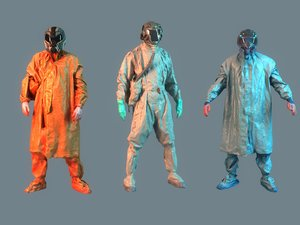 3D soldiers chemical attack pack 3 model