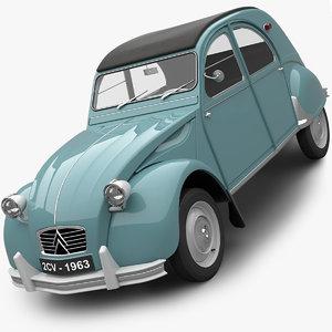 3D citroen 2cv 1963 model